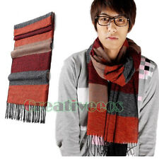Fashion Men's  Striped Lattice Tassel Pashmina Cashmere Long Scarf Shawl Wrap