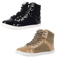 NEW WOMENS LACE UP LADIES PATENT PU FLEECED HI TOP FLAT TRAINERS SHOES SIZE 3-8