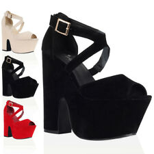 NEW WOMENS FAUX SUEDE LADIES PLATFORM STRAPPY CROSSOVER HEELS SHOES SIZE 3-8