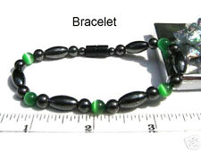 High Power Magnetic Hematite GREEN Cats Eye Bracelet, Anklet or Necklace C28