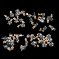 10 Pcs Cup/Tear Drop/Star/Heart Clear Mini Vial Glass Bottles Pendant with Cork