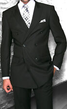 Mens Black Double Breasted Wool Designer Business Suit 40-52