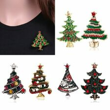 Unique Gift Vintage Crystal Rhinestone Christmas Tree Brooch Pin Broach Jewelry