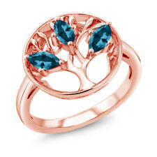 0.81 Ct Marquise London Blue Topaz 18K Rose Gold Plated Silver 3-Stone Ring