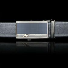Mens Classic Belts Silver Blue Automatic Buckle Genuine Leather Waistband 862