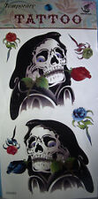 NEW GRIM REAPER SKULL AND ROSES  TEMPORARY TATTOO