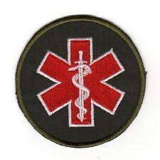 Army Tactical Morale Medic Red Cross Star Patch Sword Paramedic EMT EMS Olive