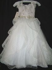 Perfect Angels Little Girls' Beaded Tiered All White Pageant/Flower Gown Dress