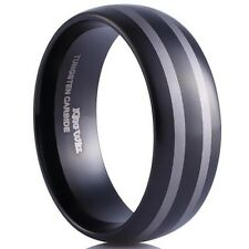 8mm Tungsten Ring Two Tone High Polished Domed Mens Wedding Engagement Band