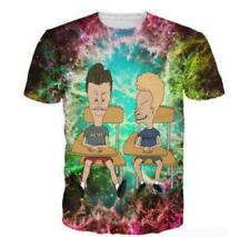 Beavis and Butthead Anime Funny 3D Print Short Sleeve Graphic Tee Mens T-Shirt C