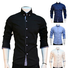 Men Slim FIt Button Shirts Male Long Sleeve Casual Shirts Solid Tee Plain Tops