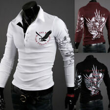 NEW Mens Stylish Slim Fit Casual Fashion T-shirts Polo Shirt Long Sleeve Tops FH