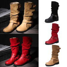 Women Solid Buckle Mid-Calf Boots Ladies Plain Casual Flat Party Shoes Fashion