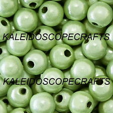 MIRACLE BEAD PASTEL GREEN IRIDESCENT 4MM 6MM 8MM ROUND JEWELRY CRAFT BEADS