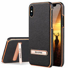 For Apple iPhone X/7/8 Plus Leather Slim Hybrid Hard Case Cover Metal Kickstand