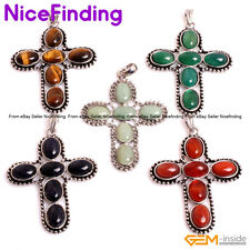 Natural Gemstone Cross Necklace Pendants Leather Chain Fashion Jewelry Gifts 18""