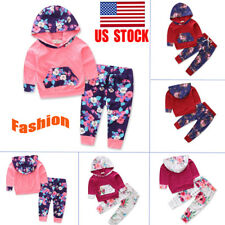 US Newborn Baby Clothes Kids Girl Floral Hooded Tops+Long Pants Outfits Set Suit