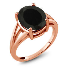 4.00 Ct Oval Black Onyx 18K Rose Gold Plated Silver Ring