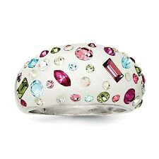 Sterling Silver Stellux Crystal Multi-Color White Ring QR4180 Size 6 - 8