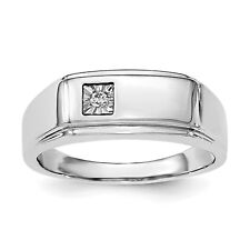 Sterling Silver Rhodium Men's Polished Diam. Ring QR6467 Size 9 - 11