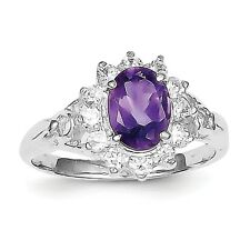 Sterling Silver Rhodium-plated Amethyst & CZ Ring QR663 Size 6 - 8