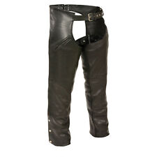 Mens THERMAL LINED Premium Black NAKED LEATHER CHAPS Soft Motorcycle Biker Pants