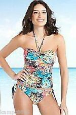M&S Ltd Collection Multi-Coloured Bandeau/Halter Tankini Sz 12 top/14 bottoms