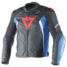 Dainese Avro D1 Mens Leather Motorcycle Jacket Black/Blue/White