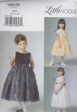 Vogue Sewing Pattern Children's/Girls Lined Party Dress sizes 3 4 5 6 7 8 V9072