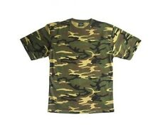 MILITARY STYLE WOODLAND CAMO/CAMOUFLAGE ARMY T-SHIRT - All Sizes Cotton