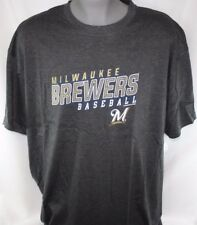 NEW Mens MAJESTIC Milwaukee Brewers Crew Neck MLB Big & Tall Baseball T-Shirt