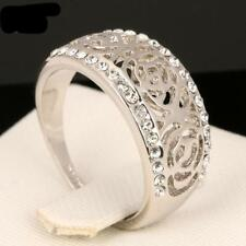 18K Real Gold & Platinum Plated Ring Silver Color Austrian Crystals