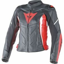 Dainese Avro D1 Womens Leather Motorcycle Jacket Black/Red/White