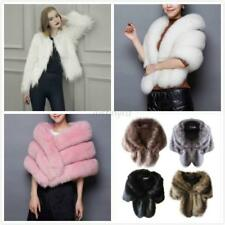 Winter Women Faux Fur Warm Coat Jacket Ladies Shawl Stole Wrap Shrug Scarf Cloak