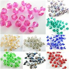 100Pcs 4mm Faceted Bicone Crystal Glass Loose Beads Craft Jewelry bead 58Color