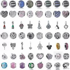 CZ Cubic Zirconia 925 Heart Silver Charms Bead Pendants Fit Sterling Bracelets