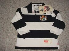 NEW BOYS CANTERBURY NEW ZEALAND RUGBY SHIRT POLO BLACK WHITE STRIPED SIZE 2 3
