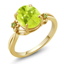 2.04 Ct Oval Yellow Lemon Quartz Green Simulated Peridot 18K Yellow Gold Ring