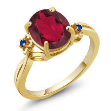 2.74 Ct Oval Red Mystic Quartz Blue Simulated Sapphire 14K Yellow Gold Ring