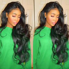 Real Brazilian Virgin Human Hair Full Lace Wig Glueless Lace Front Wig Black 1B#
