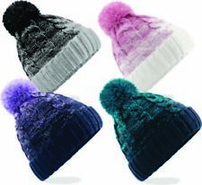 Cable Knitted Bobble Hat Ombre Beanie Woolly Winter Ladies Knitted Ski Pom Pom