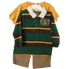 Handsome Green Gold Striped Polo Shirt, Gold Tee, Boys Cargo Pants, Football