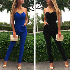 PLUS S-3XL Womens Sexy Sleeveless Jumpsuit Bodycon Overall Romper Long Pants