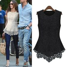 sleeveless Casual Ladies Blouse Summer Shirt Womens Fashion Hippie lace Top Size