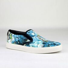 Gucci Supreme GG Canvas Bloom Print Blue Flower Slip On Sneakers 407362 8471