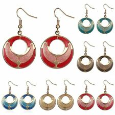 Women Vinage Gold Plated Round Hollow Dangle Hook Earrings Fashion Jewelry Gift