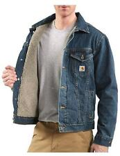 Mens CARHARTT Sherpa Lined AUTHENTIC BLUE Denim JEAN JACKET Rugged Work Coat NEW
