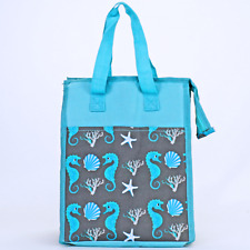 Turquoise & Gray Seahorse Insulated Lunch Tote Bag-Lunch Bag