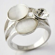 Classy Womens White Gold Filled Clear CZ Opal Ring SZ 5 6 8 9