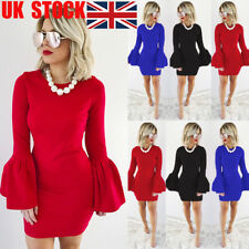 UK Women Solid Bell Long Sleeve Bodycon Party Clubwear Evening Mini Pencil Dress